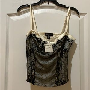 NWT Bebe black lace corset style top size S